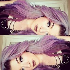 the hair color is purple to light purple almost white... it looks so pretty