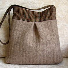 Sandstone and plaid Bella handbag | new for Fall, made from recycled wool fabric and a recycled felted wool sweater