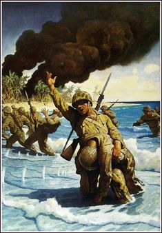 WWII Marines landing on the Beach [Untitled] -- by Newell Convers Wyeth (American, Jamie Wyeth, Andrew Wyeth, American Illustration, Illustration Art, Vintage Illustrations, Nc Wyeth, Howard Pyle, Catalogue Raisonne, Military Drawings