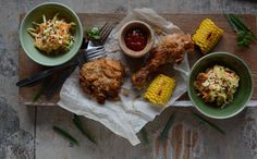 Fried Chicken with Asian Slaw and Grilled Corn