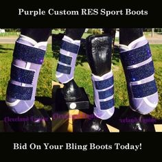 Purple Custom RES Sport Boots for Horses - Blitz! Bling!  Some of the items for the annual eBay fundraiser auction for Stolen Horse International are up!!! Start your Christmas shopping now!!! http://www.netposse.com/ebay_preview.asp