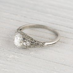1.02 Carat Vintage Cushion Cut Diamond by ErstwhileJewelry on Etsy, $11000.00