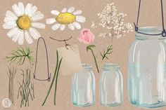 Watercolor chamomile baby breath jar by GrafikBoutique on Creative Market Rustic Background, Paper Background, Watercolor Invitations, Diy Invitations, Jar Design, Rustic Crafts, Cream Roses, Creative Icon, Graphic Illustration