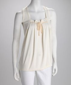 Natural Bow Neck Tank by Blow-Out on #zulily today!  Sizes Medium and Large only*  Reg $15 now just $3.99!