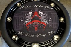 The Nighthawk is just one of many styles and shapes available with removable dining surface to convert from any time furniture to poker night fun. Custom Tables, Poker Night, Poker Table