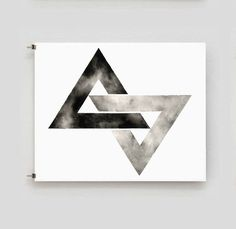 Triangle Print Geometric Watercolor Artwork Black by GeometricInk