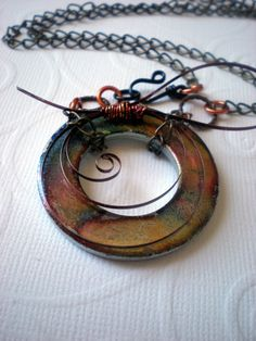Washer Necklace: Industrial Necklace in Springtime Colors - Hardware Jewelry - Industrial Jewelry - Unique Jewelry