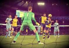 This time Cazorla turned provider, sending over a perfect pinpoint free-kick for Giroud to nod beyond Joe Hart. Arsenal Fc, Arsenal Football, Basketball Court, Soccer, Free Kick, Professional Football, Fa Cup, Manchester City, Premier League