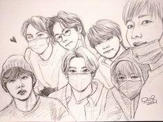 Girl Drawing Sketches, Art Drawings Sketches Simple, Bts Funny, Jungkook Fanart, Kpop Drawings, Bts Chibi, Art Sketchbook, Bts Wallpaper, Creations