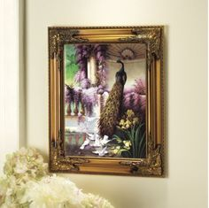 Ornate Frame Peacock Print   from Midnight Velvet.     Royal gardens are patroled by a most regal peacock in this exquisite painting.