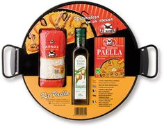 Enjoy delicious Paella when you have this Spanish Paella Kit in your kitchen. You add chicken, fish and vegetables as you choose. Paella pan measures: excluding the handles. Spanish Paella, Paella Pan, Paella Recipe, Cooking Supplies, Spices, Vegetables, Bottle, Chefs, Olive Oil