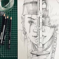 Pencil Sketches Easy, Pencil Art Drawings, Art Drawings Sketches, Bts Yoongi, Bts Jimin, Jimin Fanart, Kpop Fanart, Bts Chibi, Army Drawing