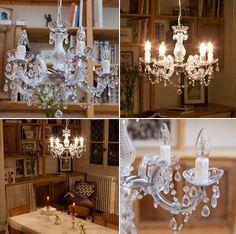 Lustre baroque avec pampilles 5 branches acrylique Venezia decodesign / Décoration