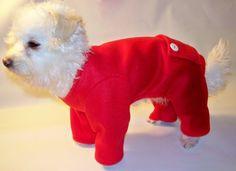 Dog Pajamas Red Fleece Trapdoor Longjohns Pajamas Dog Pjs.