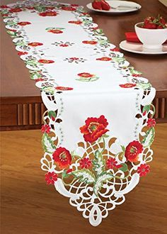 Hoomy Embroidered Floral Tablecloths Off White Cutwork Table Cloth Hollow Rectangular Table Overlays Modern Table Covers for Dinning Table Hand Embroidery Dress, Cutwork Embroidery, Embroidery Patterns, Pach Aplique, Table Overlays, Floral Tablecloth, Table Runner And Placemats, Collections Etc, Red Poppies