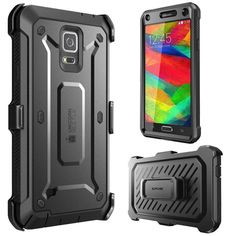 Samsung Galaxy Note 4 Case Cover Rugged Hybrid Protective Dual Layer Black