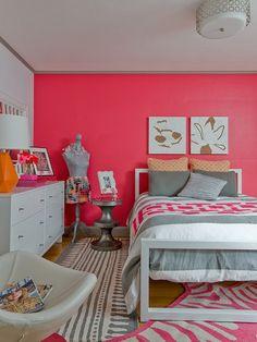 orange and hot pink interiors/images | Hot Pink Teen Girls Bedroom Interior Design Inspirational Teenage ...