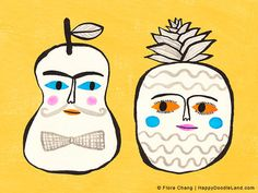 """Pear and Pineapple, 12"""" x 16"""" Art Print by flora chang   HappyDoodleLand on Etsy"""
