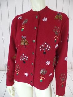 TALBOTS PETITES Ugly Christmas Sweater S Felted Wool Cardigan Knit Button Front Snowflakes Embroidery Trees Coat Style HOLIDAY!