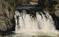 Waterfall by Fanny Churberg Chur, Helsinki, Cool Landscapes, Landscape Paintings, Kingdom Of Denmark, Les Cascades, Nordic Art, Canadian Art, Female Art