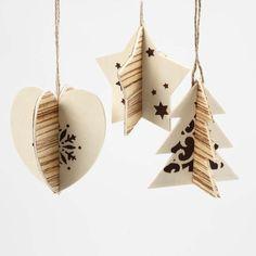 13159 Hangende kerstdecoratie met houtfineer en print