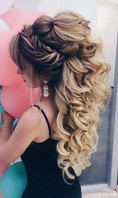 Elstile Long Wedding Hairstyles beautiful hair styles for wedding Quince Hairstyles, Wedding Hairstyles For Long Hair, Wedding Hair And Makeup, Bride Hairstyles, Easy Hairstyles, Hair Wedding, Hairdos, Bridesmaid Hairstyles, Boho Wedding
