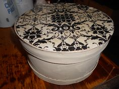 Chalk Paint® decorative paint by Annie Sloan painted cheese box in Old White with a decoupage lid.