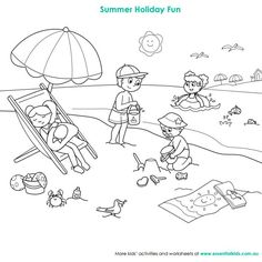 Beach Scene Colouring Page Essentialkidsau