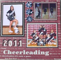Cheerleading scrapbook page