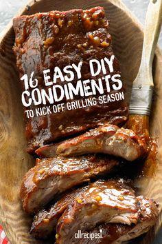 Sixteen simple DIY condiments for grilling season – mustard, mayo, BBQ sauce, ketchup, relish!
