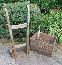 Vintage/ Antique Wooden Sack Barrow and Vintage Lovibond s Brewery Crate ~ Props