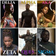 Black Panther Characters and the Black Greek characters they represent Alpha Kappa Alpha Sorority, Delta Sigma Theta, Sorority And Fraternity, Black Panther Art, Black Panther Marvel, Black Art, Black Fraternities, Panther Pictures, Black Pride