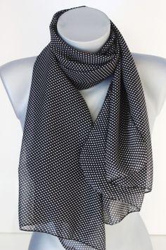 Foulard en mousseline noire imprimée pois blanc - emmafashionstyle.fr d6082d51440