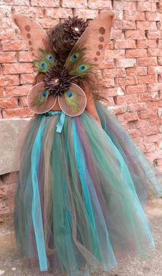 Flower Girl Tutu Dress Precious Peacock and butterfly wings by Peacock Wings, Peacock Tutu, Purple Peacock, Butterfly Wings, Holidays Halloween, Happy Halloween, Halloween Party, Little Princess, Princess Tutu