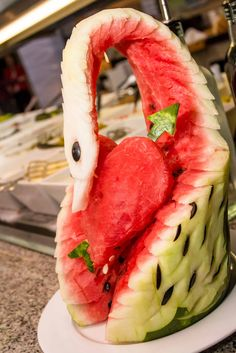 Fruit art - watermelon swan and heart shape for Valentine's Day at Riu Yucatan, Mexico