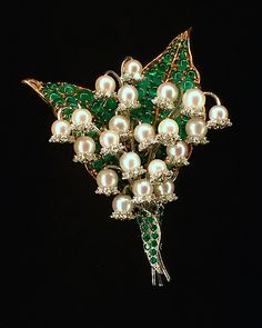 """The beautiful """"Lily of the Valley"""" brooch below, for example was commissioned in the by Baroness Liliane de Rothschild. It was originally crafted of her children's baby teeth, which she collected, and have since been replaced by pearls. Vintage Costume Jewelry, Vintage Costumes, Vintage Jewelry, Vintage Items, Pearl Jewelry, Jewelry Art, Fine Jewelry, Jewlery, Lily Of The Valley"""
