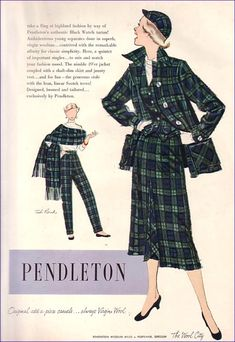 """50s Ted Rand ad. This was part of the first """"Pairables"""" concept for the 49er. Later, it referred to women's 49ers with Men's Topsmans. Green blue plaid suit dress jacket pants skirt hat color illustration print ad"""