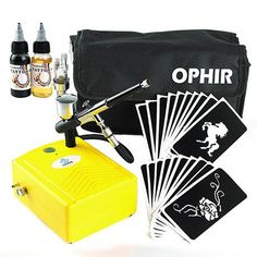 OPHIR Temporary Body Art Tattoo Airbrush Kit with Mini Compressor for Body Painting 20 Stencils Black Ink Finalized Ink_OP-BP004