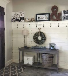 My current entryway. Also serves as my timeout rug its a multipurpose space really. Ive tagged my sources! Free plans to build the table and planked wall and shelf are on our site! ❤️ hgtv lovehgtv OpenConcept - Diy for Houses Casa Retro, Country Interior Design, Country Interiors, Diy Home Decor, Room Decor, Ship Lap Walls, My New Room, Entryway Decor, Rustic Entryway