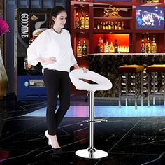 LANGRIA White Bar Stools Sets Adjustable Swivel Counter Height Stools with Leatherette Exterior Chrome Plated Footrest and Base for Bar Counter or Home2 PCS >>> BEST VALUE BUY on Amazon