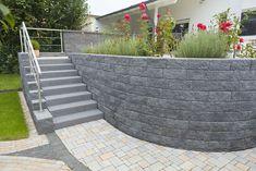 Lake Landscaping, Circular Patio, Concrete Retaining Walls, Simple House Design, House Entrance, House Front, Garden Bridge, Landscape Design, Backyard