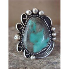 Native American Sterling Silver Turquoise Ring Size 10, by Albert Cleveland