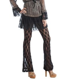 This Black Lace Flare Pants by Rancho Estancia is perfect! #zulilyfinds (For Kim??!! - Hannukah??)