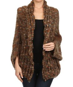 Take a look at this Brown Variegated Wool-Blend Open Cardigan - Women on zulily today!