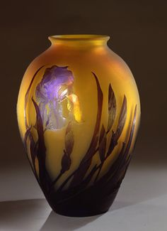 Émile Gallé (French, 1846–1904), Vase with Irises. Glass, blown and cased, with acid-etched decoration, about 1900.