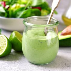 Avocado Green Goddess Dressing: This recipe is bursting with flavors and packed with healthy and fresh ingredients. Avocado Green Goddess Dressing: This recipe is bursting with flavors and packed with healthy and fresh ingredients. Avocado Ranch Dressing, Creamy Avocado Dressing, Lime Dressing, Healthy Fats, Healthy Recipes, Healthy Lunches, Detox Recipes, Dip Recipes, Quick Recipes