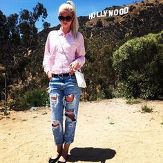 Outfit of the day, look, ootd, simone tajmer, look of the day, red lips, blonde, holywood, boyfriend jeans, monki, La, california