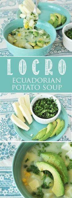 Locro, Ecuadorian Potato Soup. Perfect for those chilly days. Potatoes, cilantro, avocado, mozzarella cheese, a delicious combination!  www.thekusilife.com