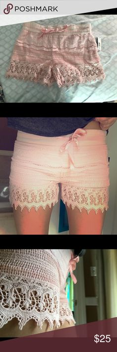 Pink lace shorts Light pink lace shorts. NWT. Adorable, never worn. In perfect condition. Shorts