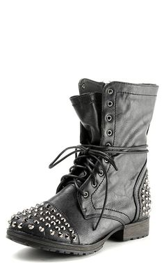 Details about Womens Spike Studded Combat Military Boots Biker ...